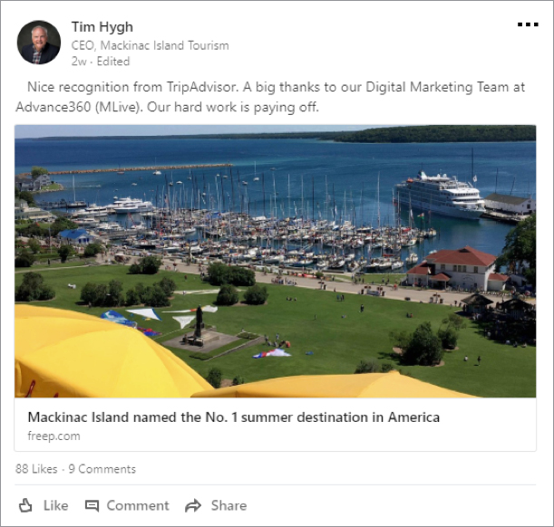B-Mackinac-social Mackinac Island Named Number 1 Summer Destination in America by TripAdvisor